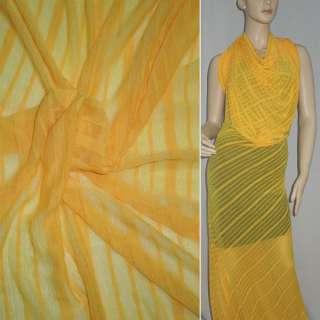 Трикотаж жовто-оранжевий в смужку ш.160