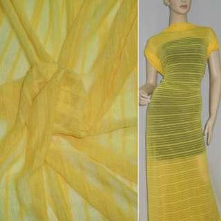 Трикотаж жовтий в жовту смужку ш.160