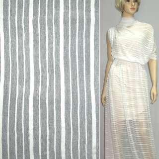 Трикотаж білий в білу смужку ш.160