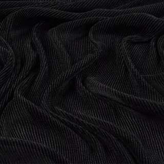 Трикотаж гофре черный ш.160 (продается в натян. виде)