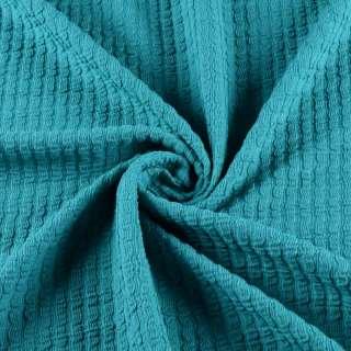 Трикотажное полотно сине-зеленое в жатую полоску ш.150