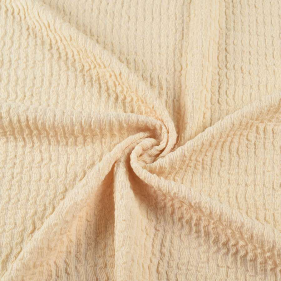 Трикотажное полотно пшеничное в жатую полоску ш.140