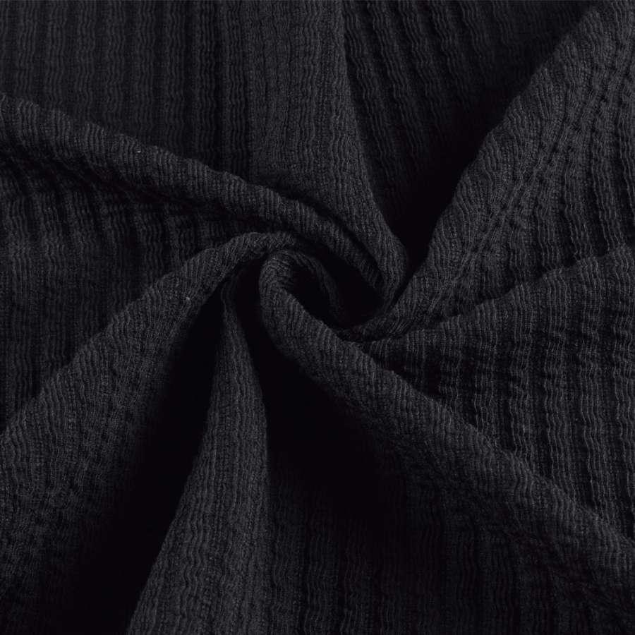 Трикотажное полотно черное в жатую полоску ш.150