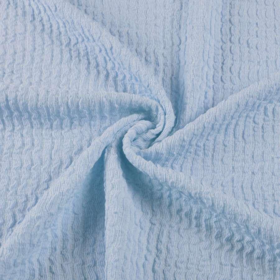 Трикотажное полотно голубое в жатую полоску ш.150