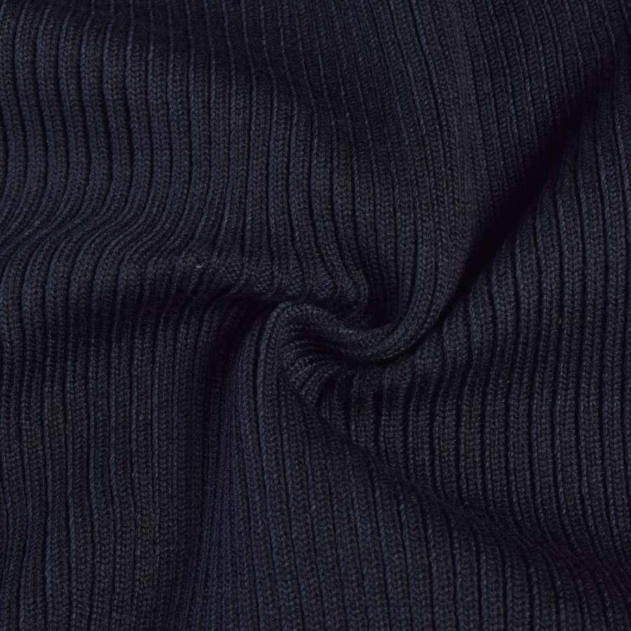 Трикотажное полотно резинка синее темное, ш.60
