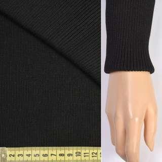Трикотажное полотно резинка (манжет) черная ш.75