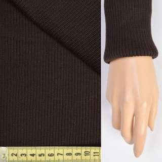 Трикотажное полотно резинка (манжет) черно-коричневая ш.80
