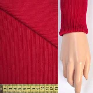 Трикотажное полотно резинка (манжет) красная яркая ш.65