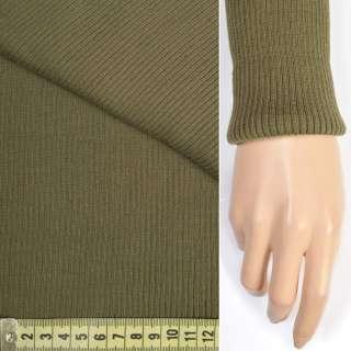 Трикотажное полотно резинка (манжет) хаки светлый ш.70