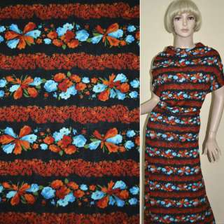 Трикотаж чорний в червоно-помаранчеві смужки з помаранчевих і блакитних квітів ш.160