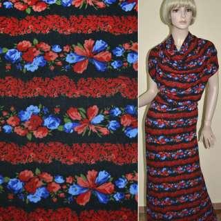 Трикотаж чорний в смужки з червоних і синіх квітів ш.165