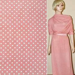 Трикотаж розовый в белый горох ш.165