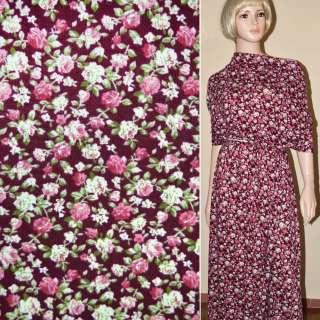 Трикотаж бордовый с розово-белыми цветами ш.160
