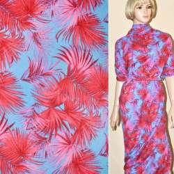 Трикотаж голубой с розово-красными листьями ш.165