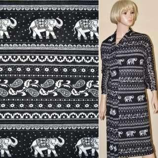 Трикотаж черный с белыми слонами и огурцами ш.165
