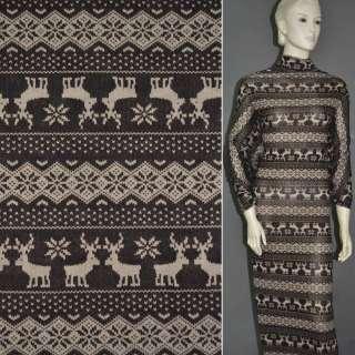 Трикотаж коричневий з орнаментом і оленями ш.160