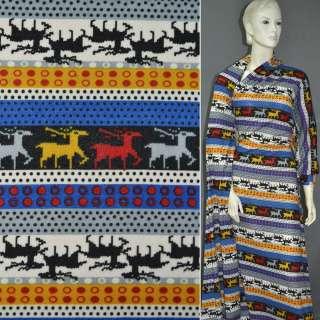 Трикотаж в молочно-чорні і синьо-жовті смужки з оленями і кружечками ш.160