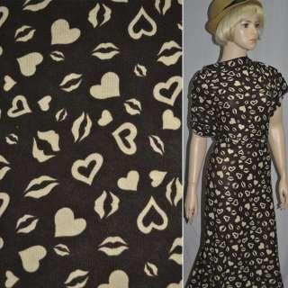 Трикотаж коричневый с сердцами и губами ш.170