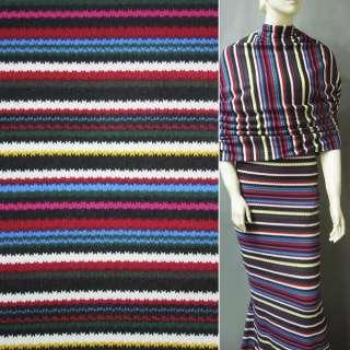 Трикотаж в разноцветные полоски малин красн+черно белые+голубые ш.160
