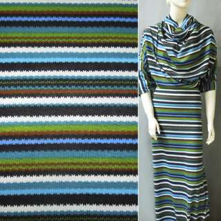 Трикотаж в разноцветные полоски зелено голуб+черно белые ш.160