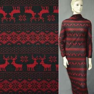 Трикотаж чорний з червоним орнаментом і оленями ш.170
