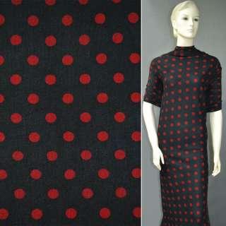 Трикотаж черный в красные круги ш.160