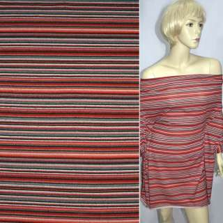 Трикотаж красный в мелкие черно серые полоски ш.160