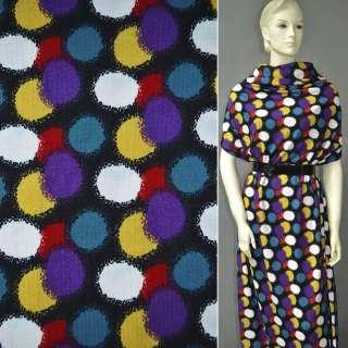 Трикотаж черный в желто-фиолетово-красные овалы ш.160