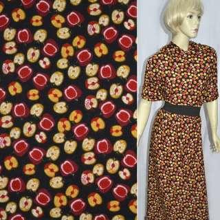Трикотаж коричневый темный с желто-красными яблоками ш.160