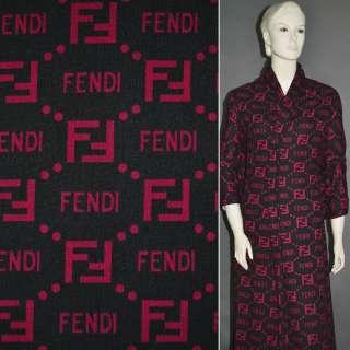 Трикотаж чорний з малиновим принтом FENDI ш.160