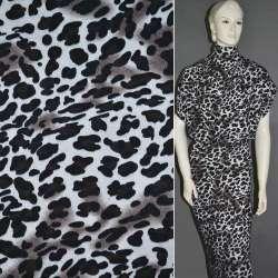 Трикотаж молочный в черный принт леопард (шерстяной) ш.165