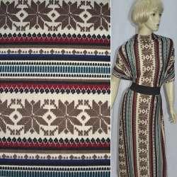 Трикотаж в бордово-кремовые полоски с коричневыми цветами орнамент (шерстяной) ш.165