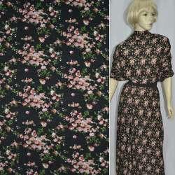 Трикотаж черный в мелкие розовые цветы (шерстяной) ш.165