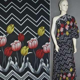Трикотаж чорний, 2-ст. купон з жовто-червоними тюльпанами ш.165