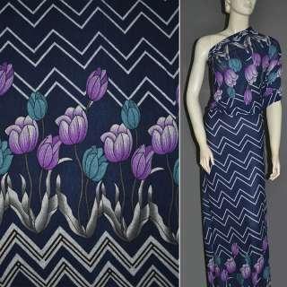Трикотаж синій темний, 2-ст. купон з бузково-бірюзовими тюльпанами