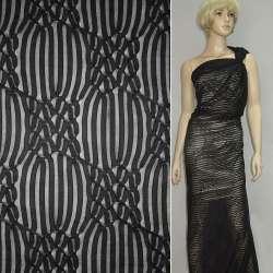 Трикотаж черный с ажурными полосками ш.160