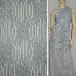 Трикотаж серый светлый с ажурными полосками ш.160