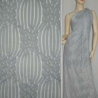 Трикотаж светло серый с ажурными полосками ш.160