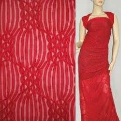 Трикотаж красный с ажурными полосками ш.160