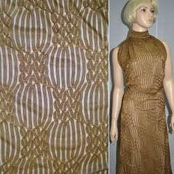 Трикотаж коричневый с ажурными полосками ш.160