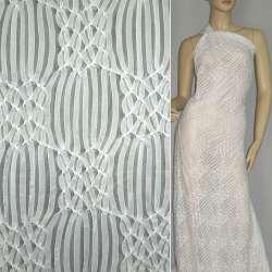 Трикотаж белый с ажурными полосками ш.160