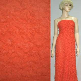 Трикотаж оранжево красный рваный ш.150