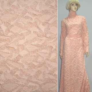 Трикотаж розово молочный рваный ш.150