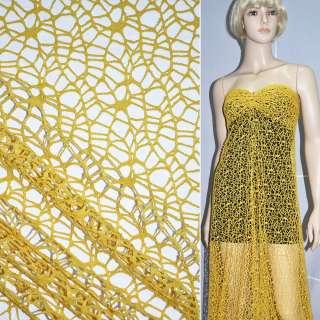 Сетка кружево желтая ш.160