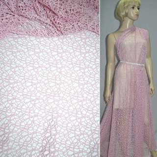 Сетка кружево розовая ш.150