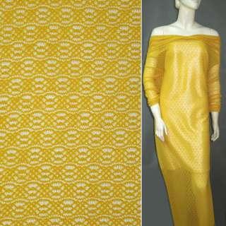Трикотажне полотно ажурне жовте ш.160