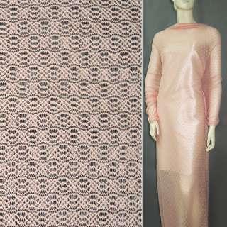 Трикотажне полотно ажурне рожево-персикове ш.160
