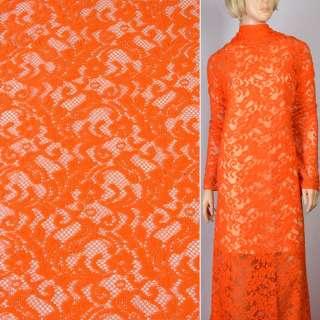 Трикотаж ажурний помаранчевий з гілочками ш.166
