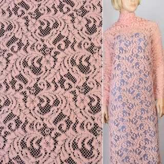 Трикотаж ажурний рожевий з гілочками ш.152