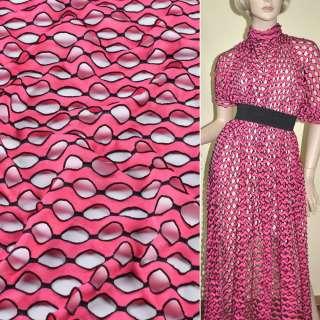 Трикотаж рожевий хвилі з овальними дірочками ш.160